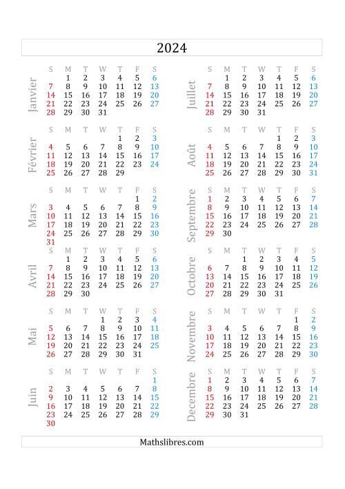 La Calendrier de l'Année 2024 (A) Fiche d'Exercices sur le Temps