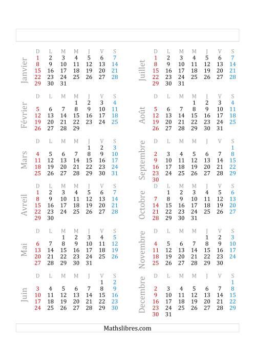 La Année Bissextile Avec le 1er Janvier Tombant sur un Dimanche (A) Fiche d'Exercices sur le Temps