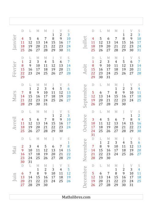La Année Bissextile Avec le 1er Janvier Tombant sur un Jeudi (A) Fiche d'Exercices sur le Temps