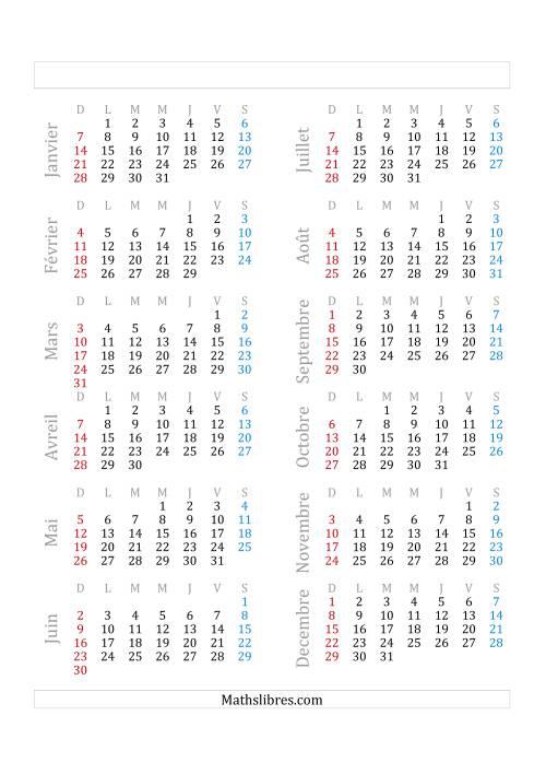 La Année Bissextile Avec le 1er Janvier Tombant sur un Lundi (A) Fiche d'Exercices sur le Temps