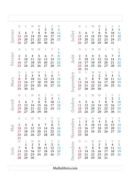 La Année Bissextile Avec le 1er Janvier Tombant sur un Mercredi (A) Fiche d'Exercices sur le Temps