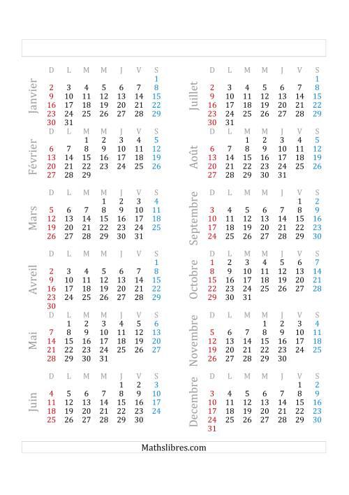 La Année Bissextile Avec le 1er Janvier Tombant sur un Samedi (A) Fiche d'Exercices sur le Temps