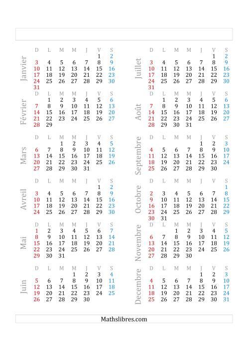 La Année Bissextile Avec le 1er Janvier Tombant sur un Vendredi (A) Fiche d'Exercices sur le Temps