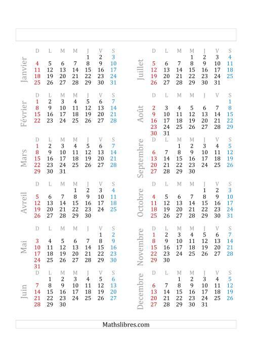 La Année Civile Avec le 1er Janvier Tombant sur un Jeudi (A) Fiche d'Exercices sur le Temps