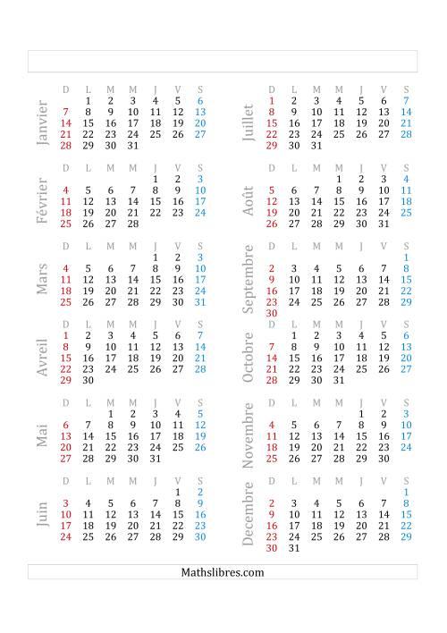 La Année Civile Avec le 1er Janvier Tombant sur un Lundi (A) Fiche d'Exercices sur le Temps