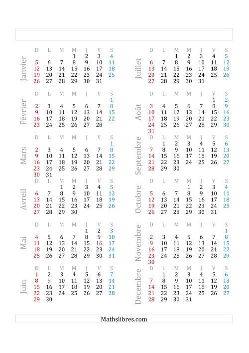 La Année Civile Avec le 1er Janvier Tombant sur un Mercredi (A) Fiche d'Exercices sur le Temps