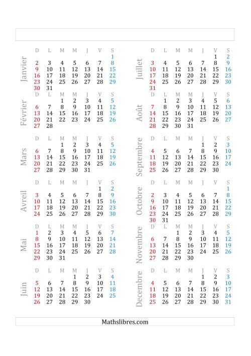 La Année Civile Avec le 1er Janvier Tombant sur un Samedi (A) Fiche d'Exercices sur le Temps