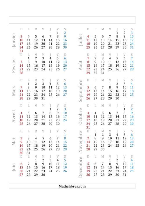 La Année Civile Avec le 1er Janvier Tombant sur un Vendredi (A) Fiche d'Exercices sur le Temps