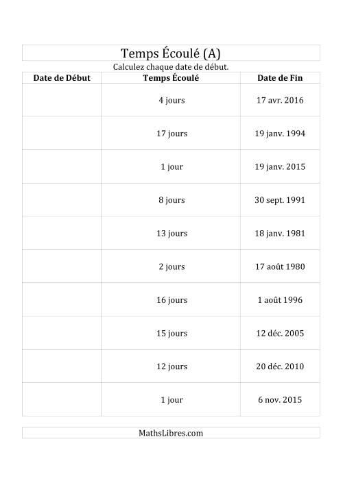 La Calculez la Date de Début à l'Aide du Temps Écoulé et la Date de Fin en Jours (A) Fiche d'Exercices sur le Temps