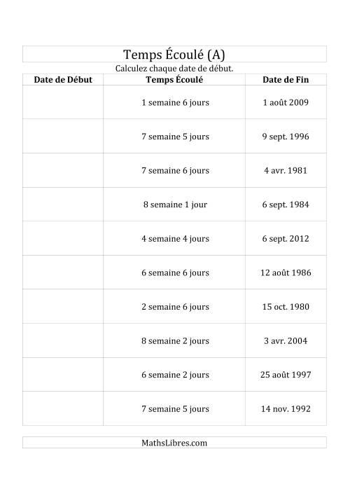 La Calculez la Date de Début à l'Aide du Temps Écoulé et la Date de Fin en Jours & Semaines (A) Fiche d'Exercices sur le Temps