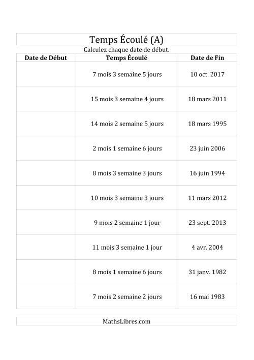 La Calculez la Date de Début à l'Aide du Temps Écoulé et la Date de Fin en Jours, Semaines & Mois (A) Fiche d'Exercices sur le Temps