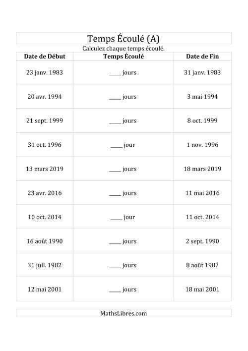 La Calculez le Temps Écoulé Entre Deux Dates en Jours (A) Fiche d'Exercices sur le Temps