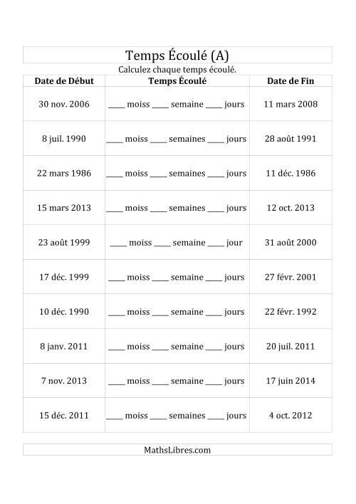 La Calculez le Temps Écoulé Entre Deux Dates en Jours, Semaines & Mois (A) Fiche d'Exercices sur le Temps
