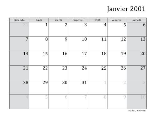 La Calendrier Mensuel de l'Année 2001 (A) Fiche d'Exercices sur le Temps