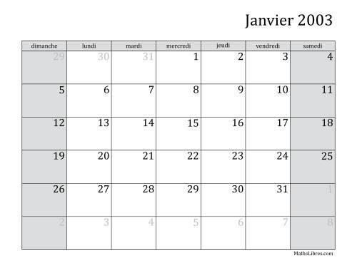 La Calendrier Mensuel de l'Année 2003 (A) Fiche d'Exercices sur le Temps
