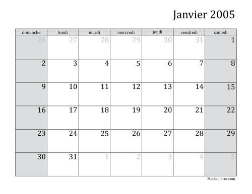 La Calendrier Mensuel de l'Année 2005 (A) Fiche d'Exercices sur le Temps