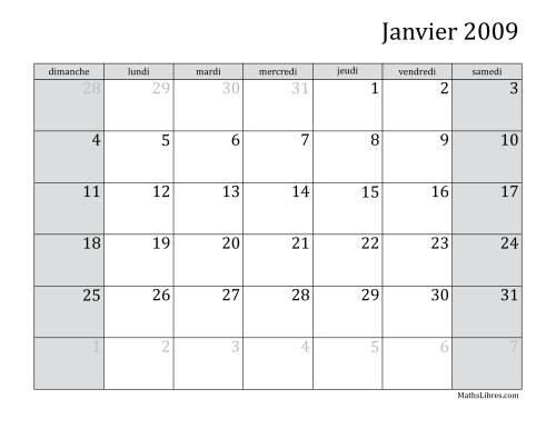 La Calendrier Mensuel de l'Année 2009 (A) Fiche d'Exercices sur le Temps