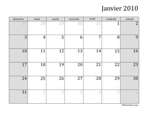 La Calendrier Mensuel de l'Année 2010 (A) Fiche d'Exercices sur le Temps