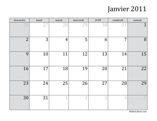 La Calendrier Mensuel de l'Année 2011 (A) Fiche d'Exercices sur le Temps