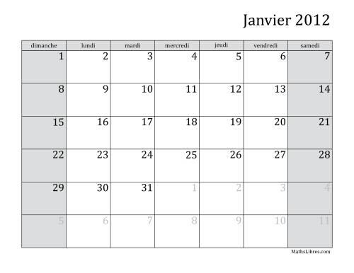 La Calendrier Mensuel de l'Année 2012 (A) Fiche d'Exercices sur le Temps