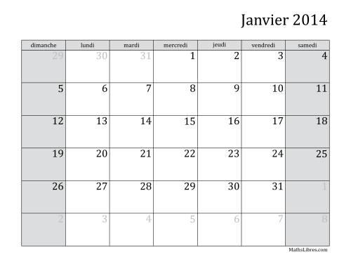 La Calendrier Mensuel de l'Année 2014 (A) Fiche d'Exercices sur le Temps