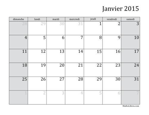La Calendrier Mensuel de l'Année 2015 (A) Fiche d'Exercices sur le Temps