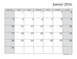 Calendrier Mensuel de l'Année 2016 (A)
