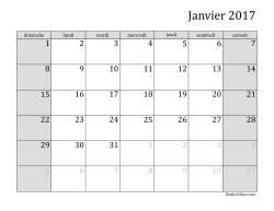 Calendrier Mensuel de l'Année 2017 (A)