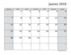 Calendrier Mensuel de l'Année 2018 (A)