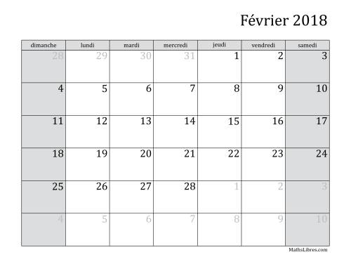 Calendrier Mensuel 2018 (A) page 2