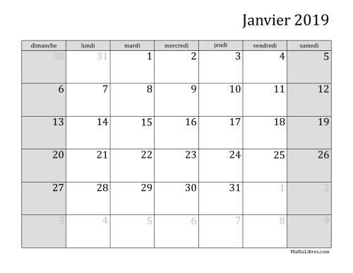 La Calendrier Mensuel de l'Année 2019 (A) Fiche d'Exercices sur le Temps