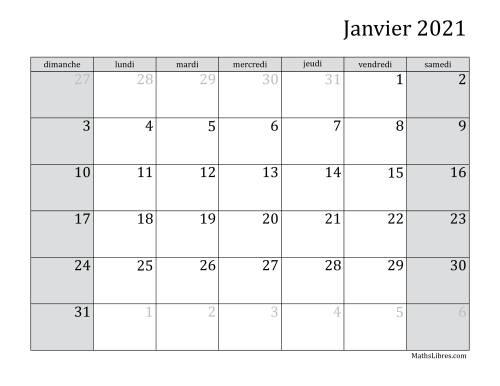 La Calendrier Mensuel de l'Année 2021 (A) Fiche d'Exercices sur le Temps