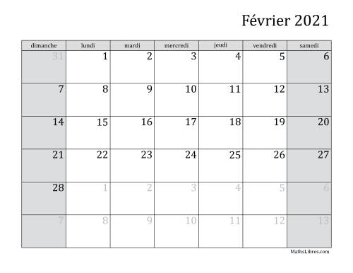 Calendrier Mensuel 2021 Calendrier Mensuel de l'Année 2021 (A)