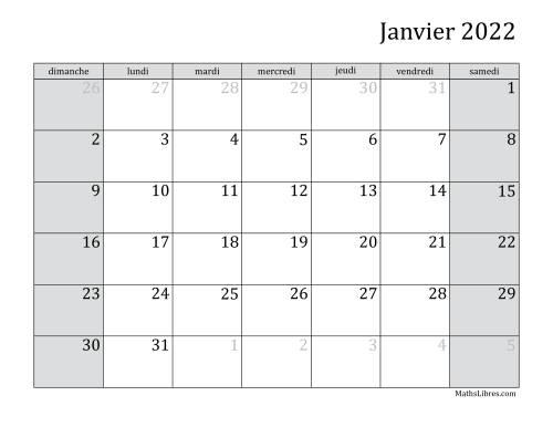 La Calendrier Mensuel de l'Année 2022 (A) Fiche d'Exercices sur le Temps