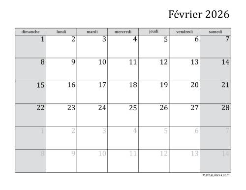 Calendrier Mensuel 2026 (A) page 2