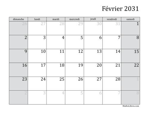 Calendrier Mensuel 2031 (A) page 2