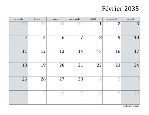 Calendrier Mensuel 2035 (A) page 2
