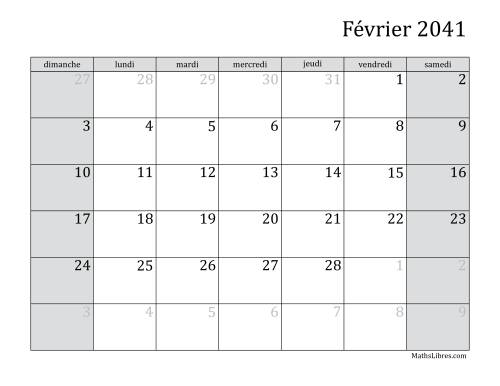Calendrier Mensuel 2041 (A) page 2