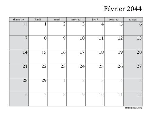 Calendrier Mensuel 2044 (A) page 2