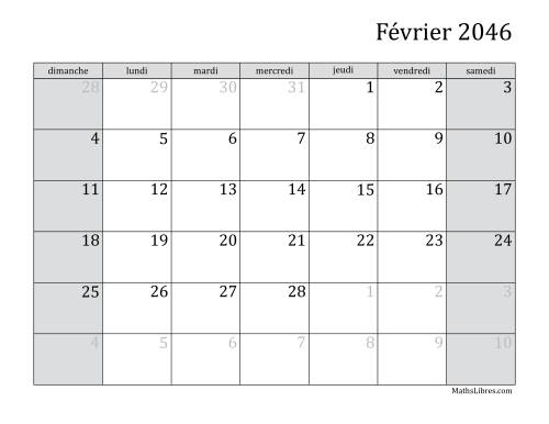 Calendrier Mensuel 2046 (A) page 2