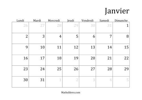 La Calendriers Spécifiques Mensuels (Année Civile) Avec le 1er Janvier sur Dimanche (A) Fiche d'Exercices sur le Temps