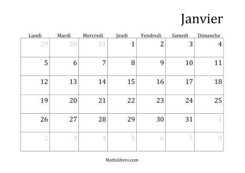 La Calendriers Spécifiques Mensuels (Année Civile) Avec le 1er Janvier sur Jeudi (A) Fiche d'Exercices sur le Temps