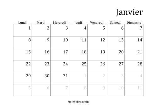 La Calendriers Spécifiques Mensuels (Année Civile) Avec le 1er Janvier sur Lundi (A) Fiche d'Exercices sur le Temps