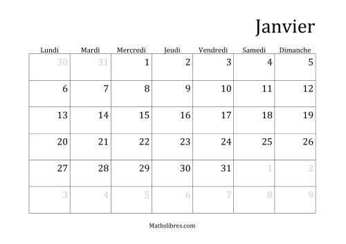 La Calendriers Spécifiques Mensuels (Année Civile) Avec le 1er Janvier sur Mercredi (A) Fiche d'Exercices sur le Temps