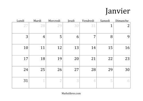 La Calendriers Spécifiques Mensuels (Année Civile) Avec le 1er Janvier sur Samedi (A) Fiche d'Exercices sur le Temps