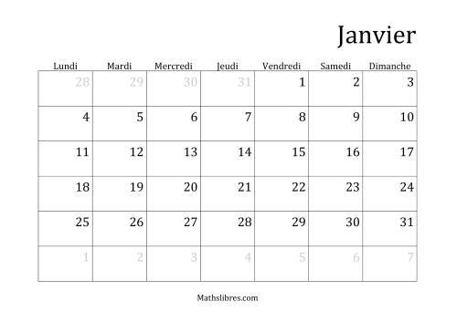 La Calendriers Spécifiques Mensuels (Année Civile) Avec le 1er Janvier sur Vendredi (A) Fiche d'Exercices sur le Temps
