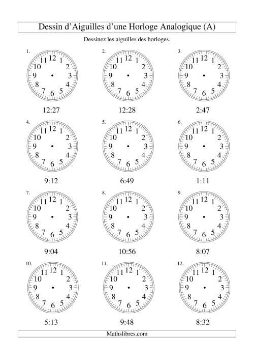 La Dessin d'Aiguiles sur Une Horloge Analogique avec 1 Minute d'Intervalle (A) Fiche d'Exercices sur le Temps
