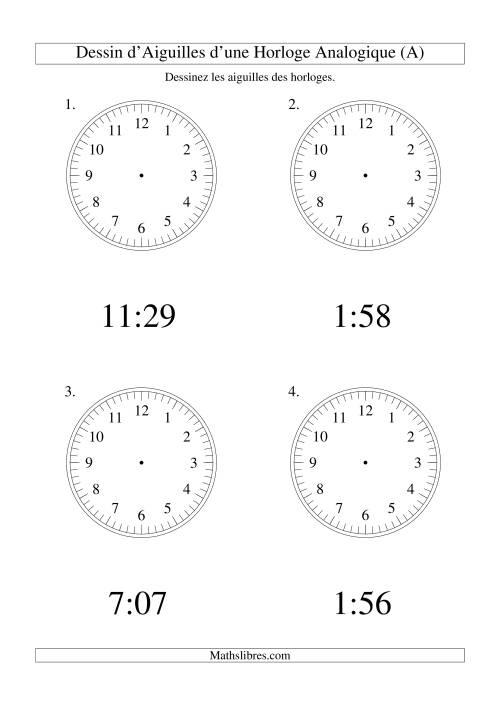 La Dessin d'Aiguiles sur Une Horloge Analogique avec 1 Minute d'Intervalle (Grand Format) Fiche d'Exercices sur le Temps