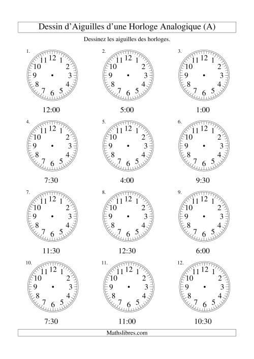 La Dessin d'Aiguiles sur Une Horloge Analogique avec 30 Minutes d'Intervalle (A) Fiche d'Exercices sur le Temps