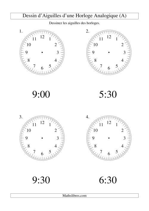 La Dessin d'Aiguiles sur Une Horloge Analogique avec 30 Minutes d'Intervalle (Grand Format) Fiche d'Exercices sur le Temps